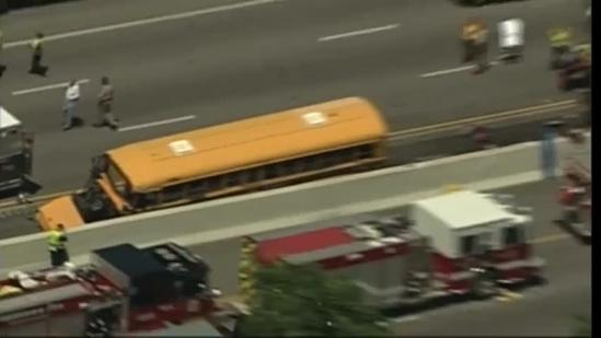 Raw aerials: Bus crash on I-64