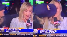 'It's disgusting': Moment female fan kisses reporter causes outrage