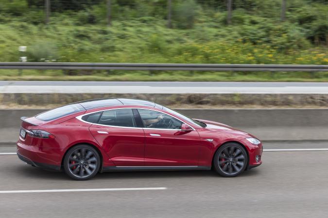 Frankfurt, Germany - July 12, 2016: Tesla Model S luxury electric sedan