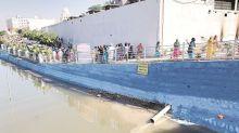 Metres away from warning, Gurdwara Ber Sahib authorities release dirty water in Bein