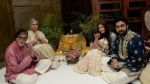 Amitabh Bachchan, Aishwarya Rai Bachchan, Aaradhya and Abhishek Bachchan have a quiet Diwali