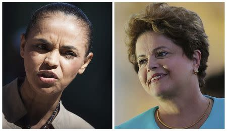 Combination file pictures of Brazil's presidential candidates Silva of the Brazilian Socialist Party and Rousseff of the Workers' Party