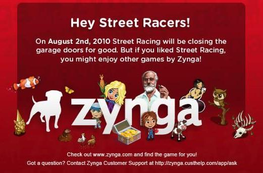 Zynga shutting down Street Racing game, offering credit for in-game purchases