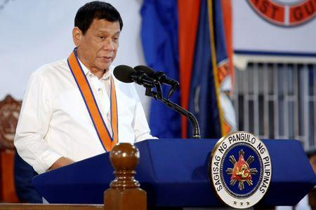 Philippines President Rodrigo Duterte speaks during the ceremony marking the anniversary of the Philippines Coast Guard in Manila
