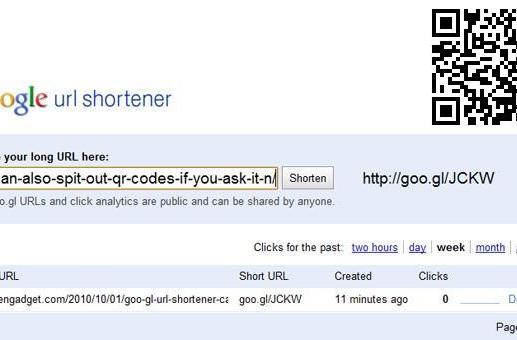 Goo.gl URL shortener can also spit out QR codes, if you ask it nicely