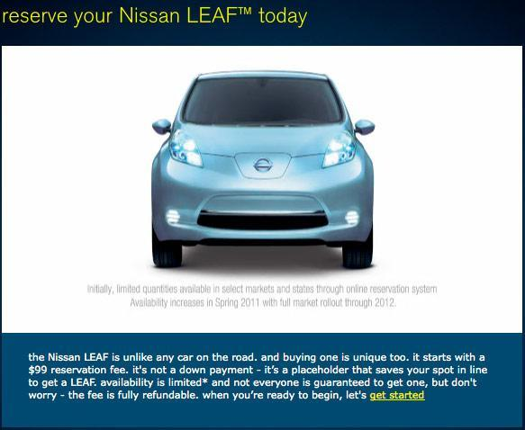Nissan opens all-electric Leaf pre-orders to the US public: $99 to reserve