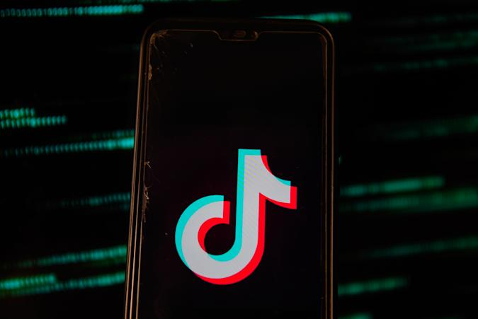 POLAND - 2020/07/15: In this photo illustration a TikTok logo is seen displayed on a smartphone. (Photo Illustration by Omar Marques/SOPA Images/LightRocket via Getty Images)