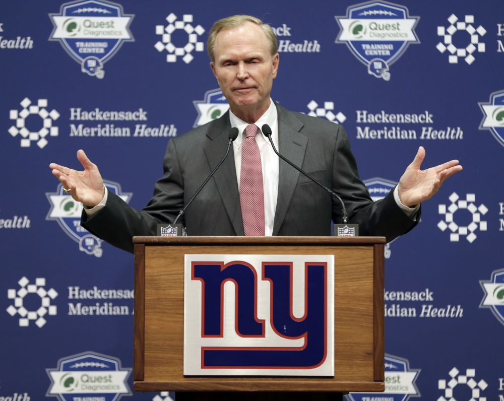 John Mara, owner of the New York Giants, speaks to reporters on Monday. (AP)