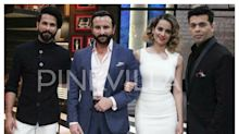 Rangoon diaries: Saif, Shahid & Kangana pose for a lovely click with KJo on the KWK sets!