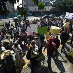 Guatemalan indigenous people march in support of Morales