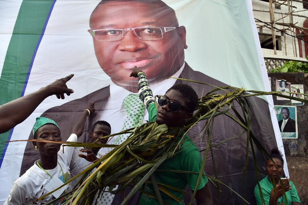 Opposition candidate Julius Maada Bio gained a wafer-thin advantage in the first round of voting -- but Saturday's runoff is too close to call (AFP Photo/ISSOUF SANOGO)