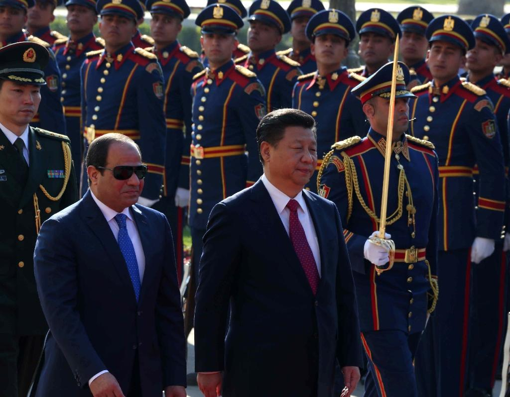China's President Xi Jinping (2nd right) and Egypt's President Abdel Fattah al-Sisi during a welcome ceremony in the Egyptian capital Cairo on January 21, 2016 (AFP Photo/Egyptian presidency. Photo / HO)