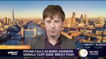 Pound falls as Boris Johnson signals 'cliff-edge' Brexit push