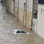 Cars Submerged as Aude River Floods in Southern France