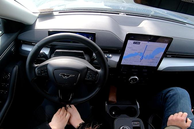 Ford BlueCruise hands-free driving in a Mustang Mach-E