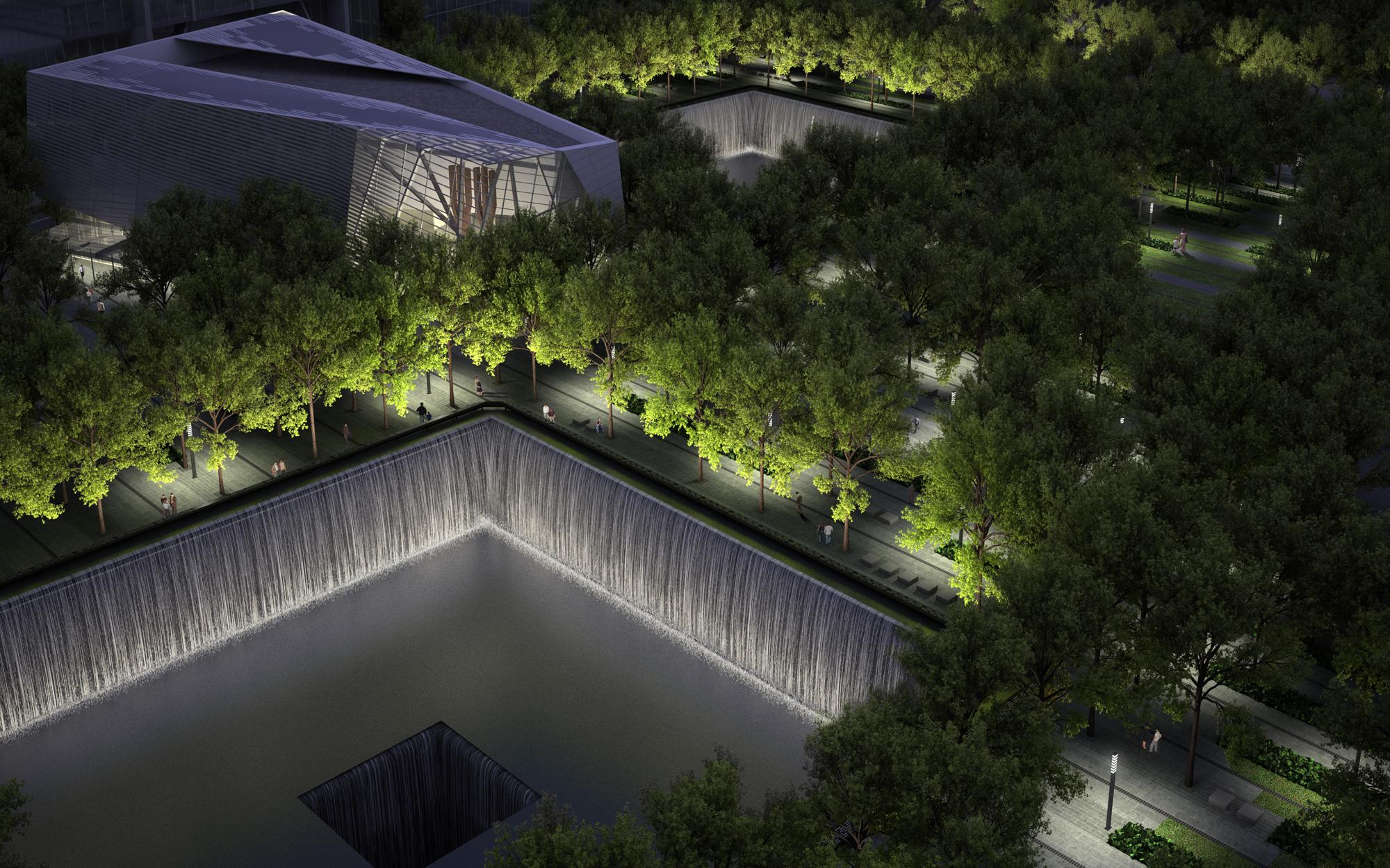 A rendering of the Memorial at night. Squared Design Lab