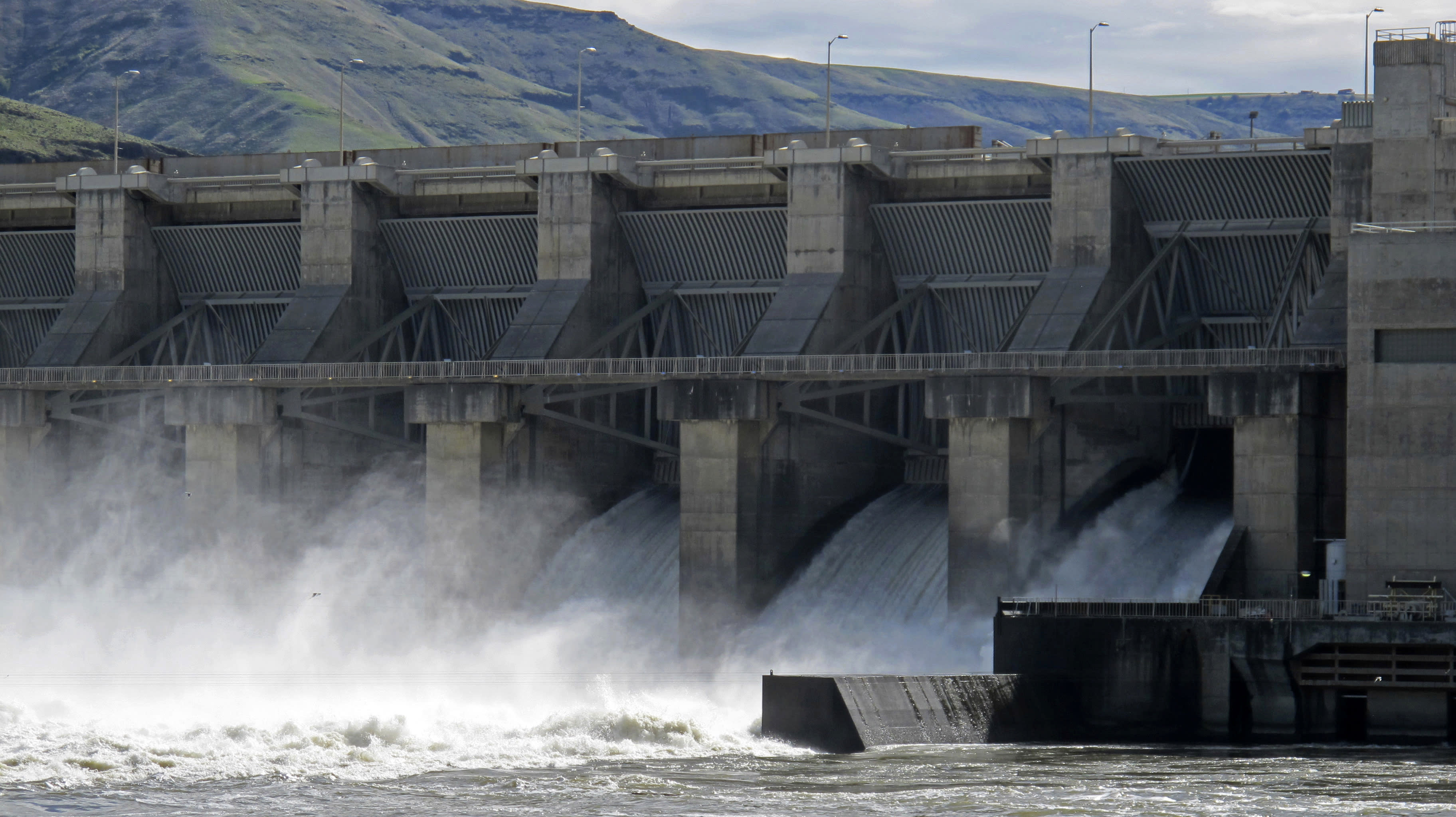 FILE - In this April 11, 2018 file photo, water moves through a spillway of the Lower Granite Dam on the Snake River near Almota, Wash. Farmers, environmentalists, tribal leaders and public utility officials are eagerly awaiting a federal report due Friday, Feb. 28, 2020, that could decide the fate of four hydroelectric dams on the Snake River. (AP Photo/Nicholas K. Geranios,File)