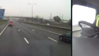 Lorry driver causes pile-up while on phone