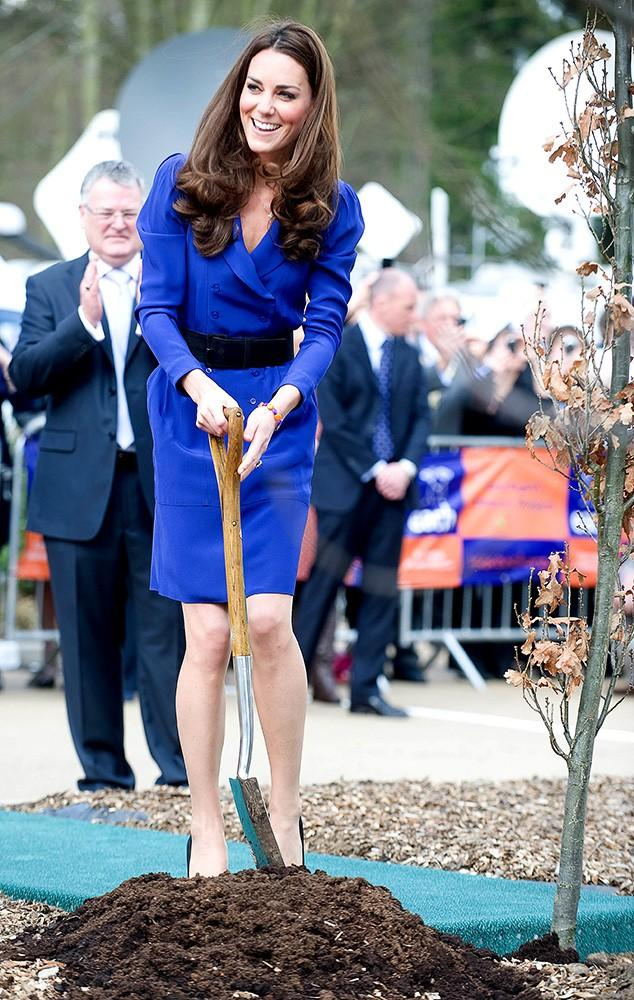 The Duchess is a hard worker! Helping to plant a tree, Kate still looked totally glam in a vibrant blue Reiss dress.