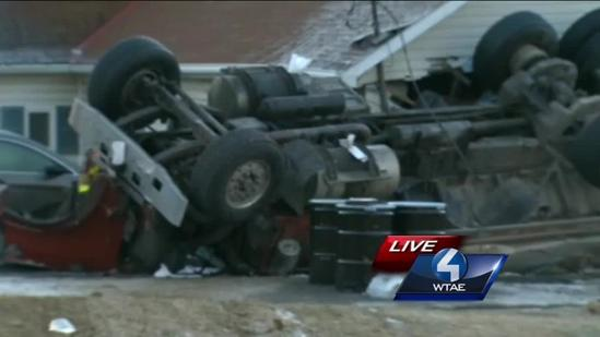Tanker truck hauling 6,000 gallons of milk crashes into home