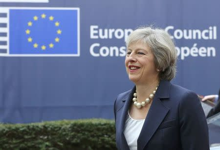 British Prime Minister Theresa May arrives at the EU summit in Brussels