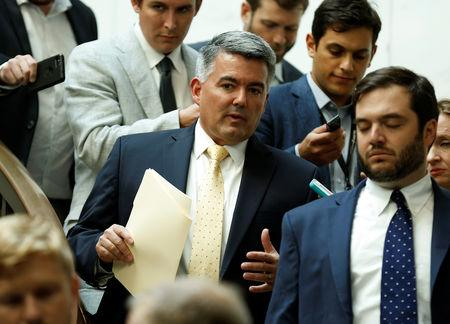 Senator Cory Gardner (R-CO) arrives for a closed senators-only Capitol Hill briefing on election security at the U.S. Capitol in Washington, U.S., August 22, 2018. REUTERS/Joshua Roberts