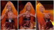 Nicki Minaj recovers from wardrobe malfunction like a pro