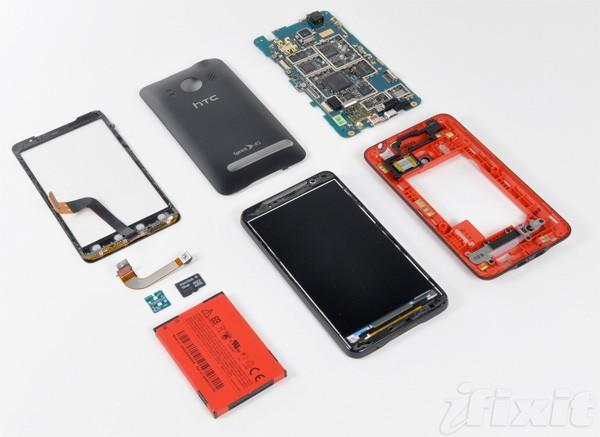 HTC EVO 4G splayed, found to contain wires, chips
