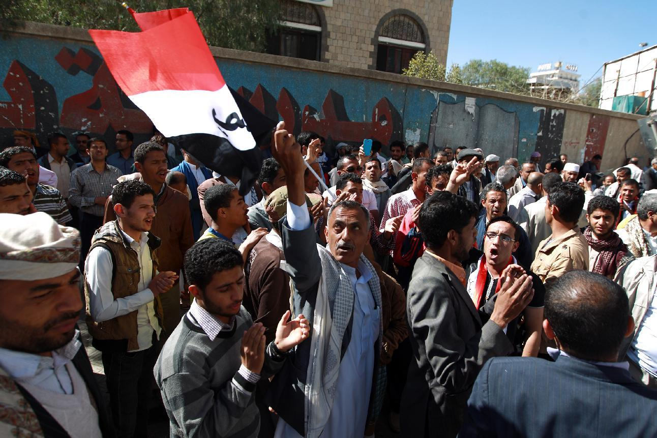 Yemenis rally against the occupation of the capital by Shiite Huthi rebels on February 14, 2015 in the capital Sanaa (AFP Photo/Mohammed Huwais)