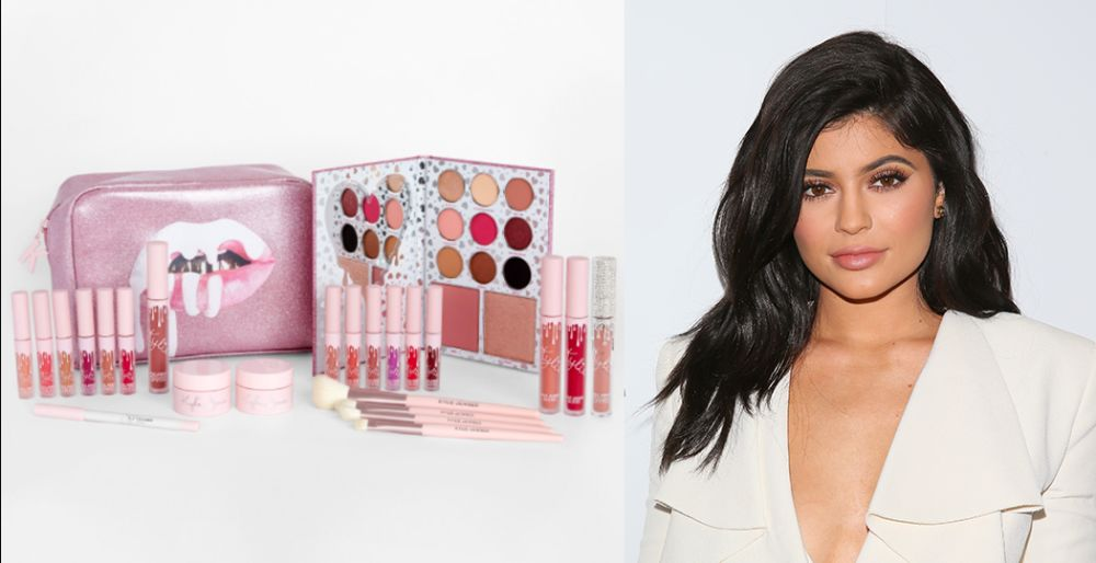 Kylie and some products in her cosmetics line.