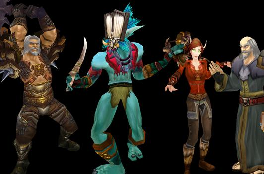 Diablo 3 Transmog Outfits for WoW: Deckard Cain, Leah, Witch Doctor, Barbarian