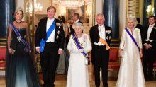 Derroche de diamantes en banquete de estado con reina Máxima
