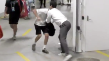 Roger Federer caught in funny altercation with coach at Australian Open