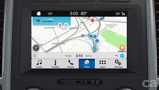 【圖八】SYNC® 3娛樂通訊整合系統的8吋觸控螢幕提供繁體中文介面,並支援Waze(位智)導航應用程式—全球最大的社群化交通導航應用程式之一。