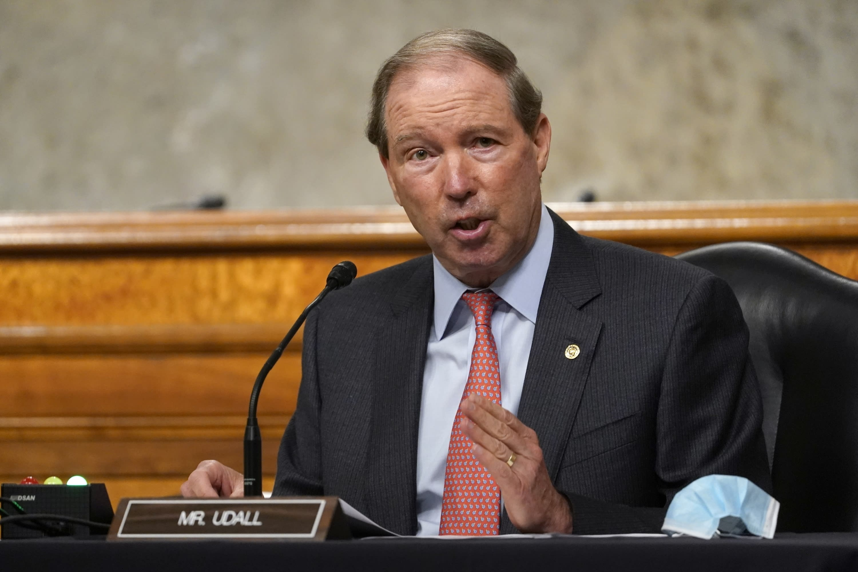 FILE - In this Sept. 24, 2020, file photo, Sen. Tom Udall, D-N.M., speaks during a Senate Foreign Relations Committee hearing on Capitol Hill in Washington on U.S. policy in a changing Middle East. Democratic U.S. senators from New Mexico have frozen the nomination process for two U.S. District Court vacancies until after the November election, citing the president's politicization of the process. Sens. Tom Udall, who is not running for re-election as he retires at the end of the year, and Martin Heinrich, not seen, put the brakes on appointments prior to the death of Justice Ruth Bader Ginsburg, in response a Trump appearance at the White House to promote his future judiciary appointments and denounce a radical leftwing movement. (AP Photo/Susan Walsh, Pool, File)