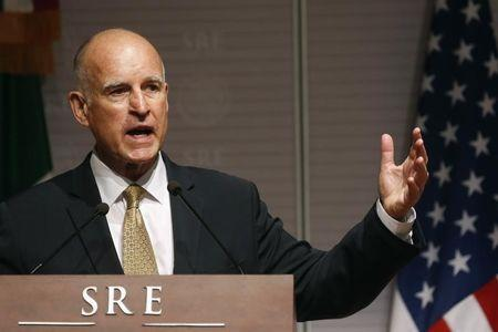 File photo of California Governor Jerry Brown speaking during a news conference at Memoria y Tolerancia museum in Mexico City