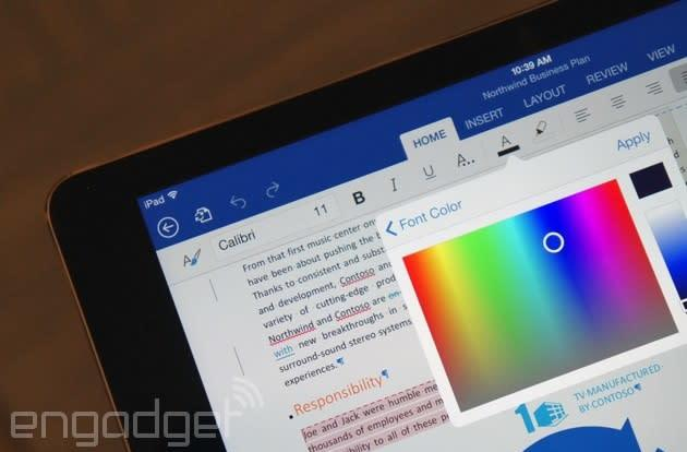 Office for iPad updated with PDF export, third-party fonts and video playback support