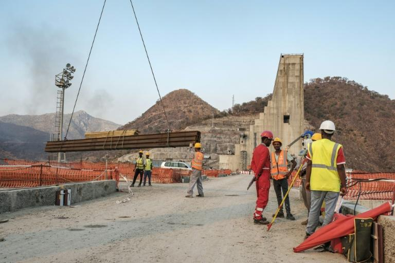 Construction is carried out at the Grand Ethiopian Renaissance Dam, near Guba in Ethiopia, in December 2019