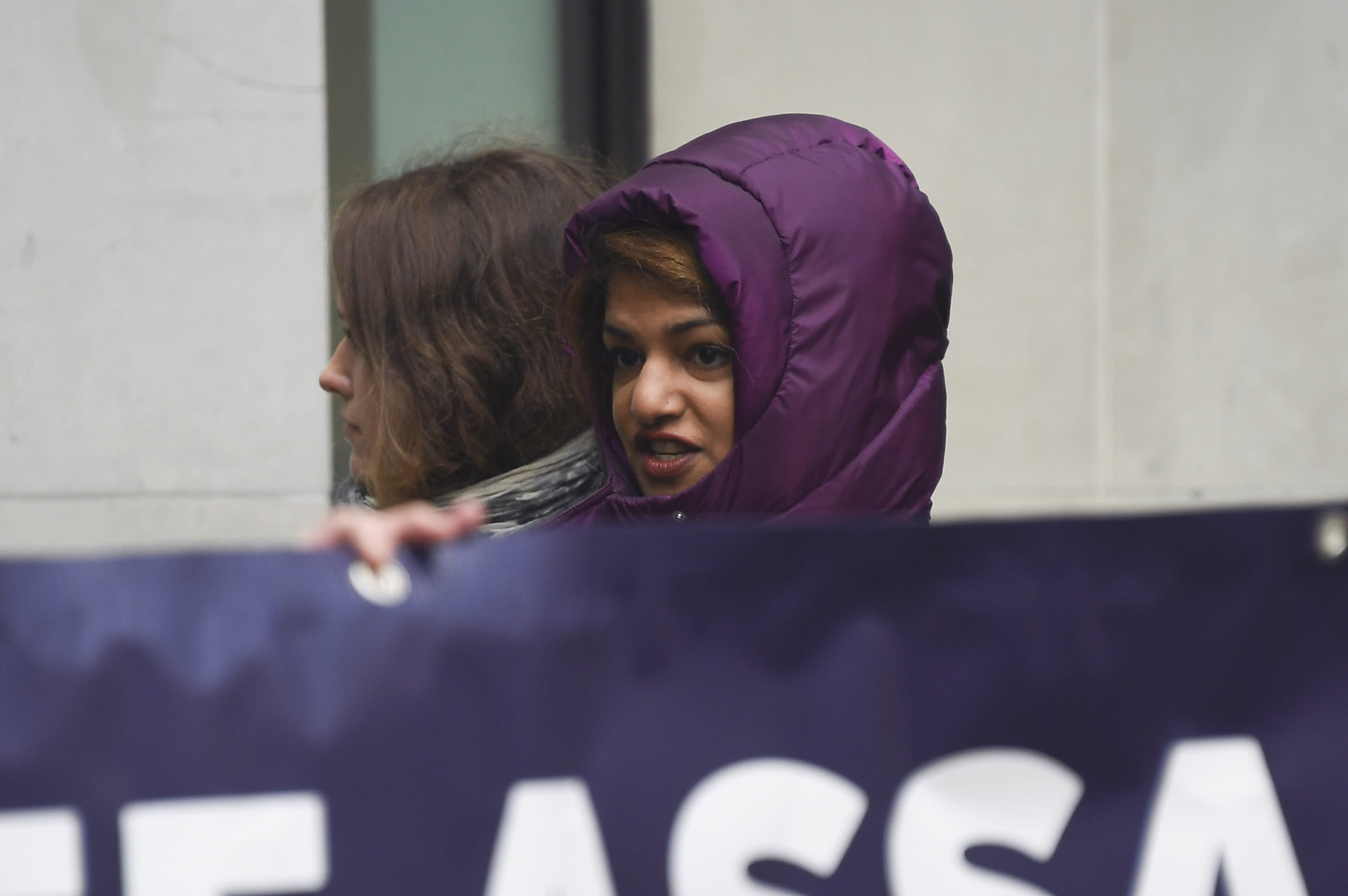 Singer M.I.A joins demonstrators outside Westminster Magistrates Court in support of WikiLeaks founder Julian Assange, who is due to appear for an administrative hearing, in London, Monday, Jan. 13, 2020. Assange remains in custody at London's Belmarsh Prison while he fights extradition (AP Photo/Alberto Pezzali)
