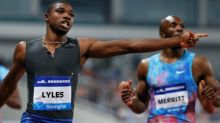 Lyles equals year's fastest 100m, Rodgers withdraws