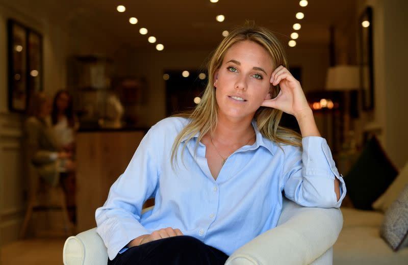 Knatchbull, Founder of The Deck, sits inside her new premises on Savile Row, the first shopfront tailors exclusively for women to open on the world famous street, renowned for its bespoke clothes making, in London