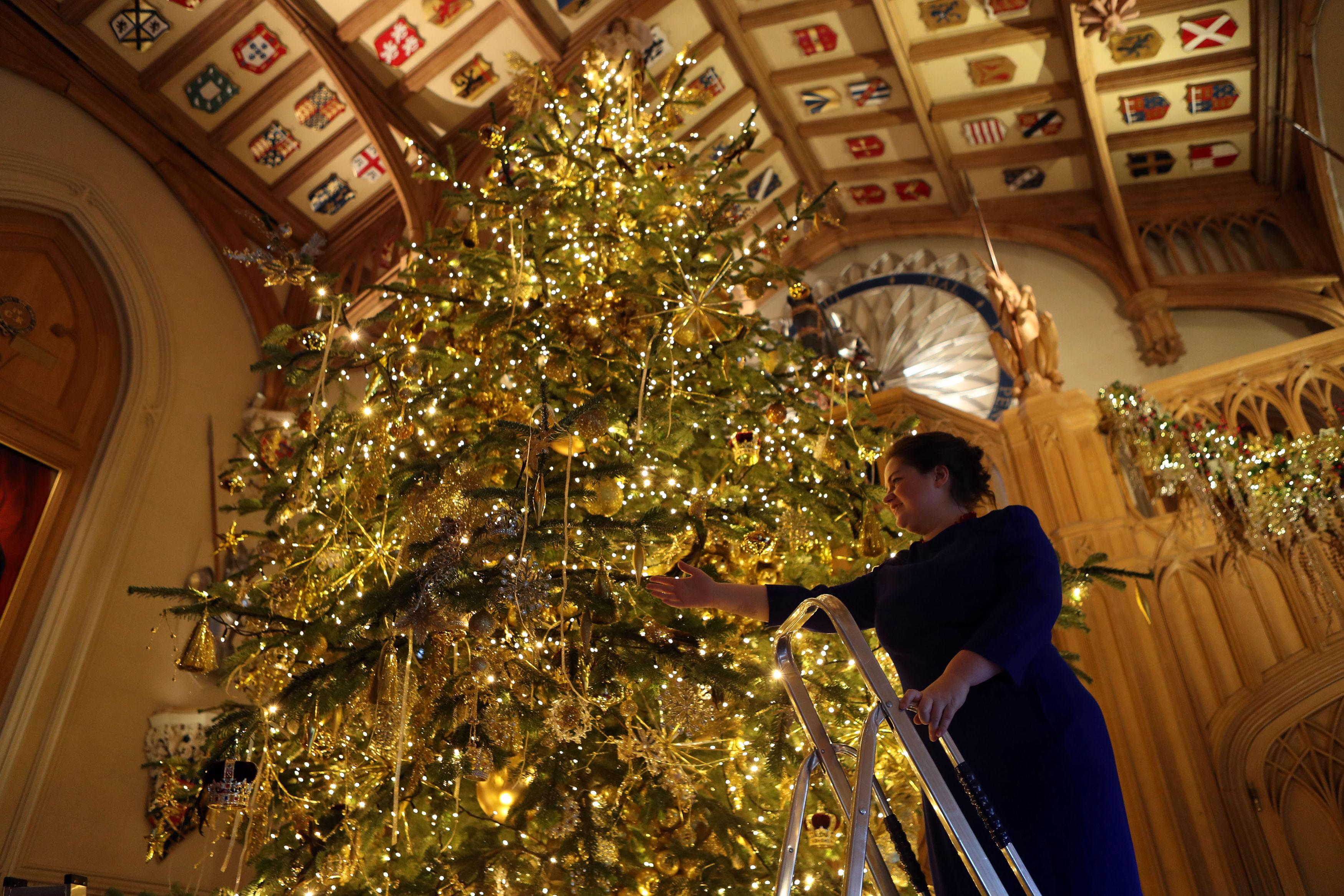 Queen Has 20 Foot Christmas Tree At Windsor Castle