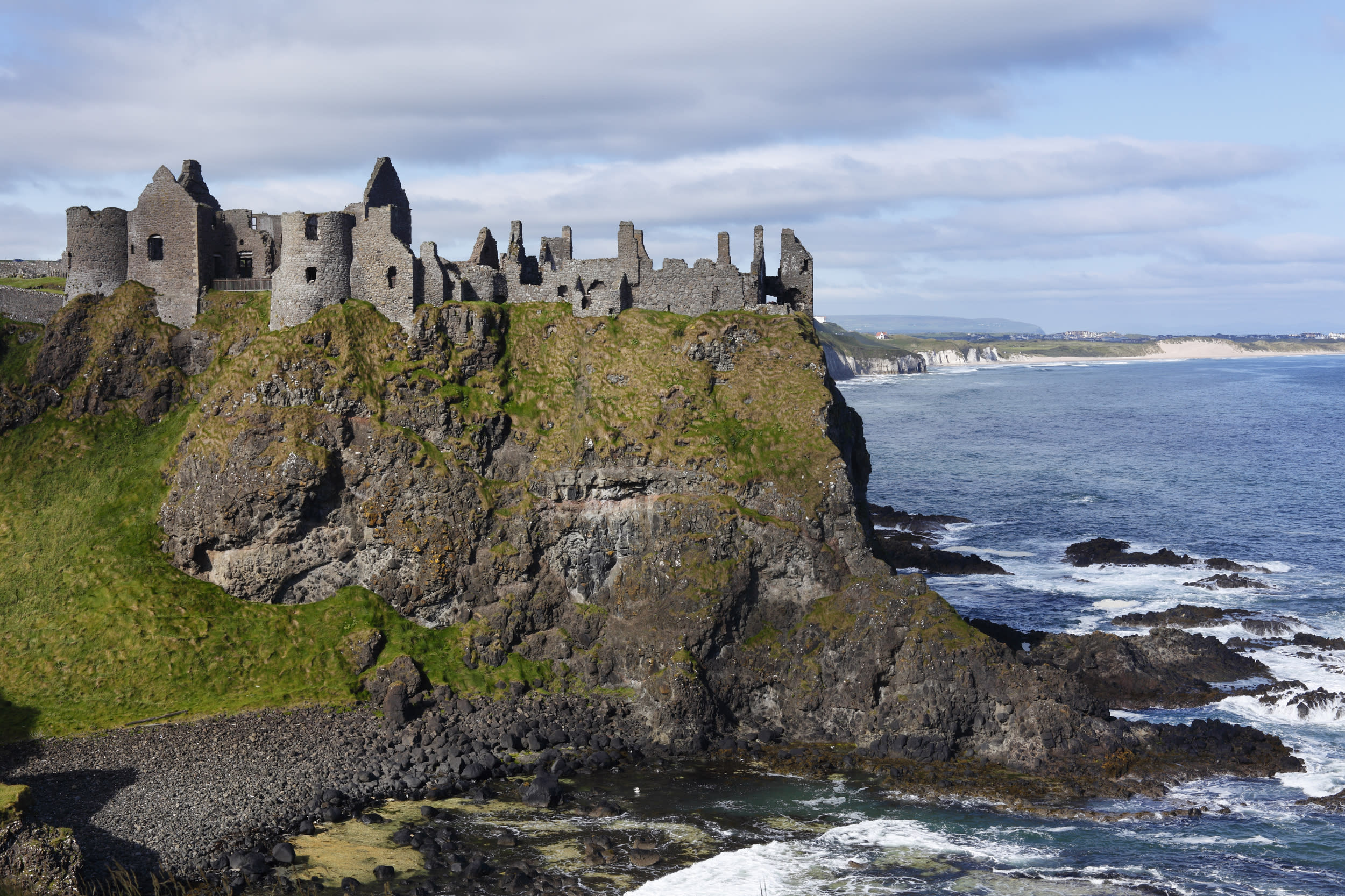"""<p><strong>GOT location</strong>: House of Greyjoy</p>  <p><strong>Real life location</strong>: Dunluce Castle, Northern Ireland</p>  <p>Visit Northern Ireland and you'll be in reach of several GOT filming locations -- like the House of Greyjoy.</p>  <p><a href=""""https://fave.co/2vdSHKZ""""><strong>Book your trip.</strong></a></p>"""