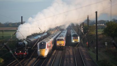 Four generations of trains pictured together in historic moment