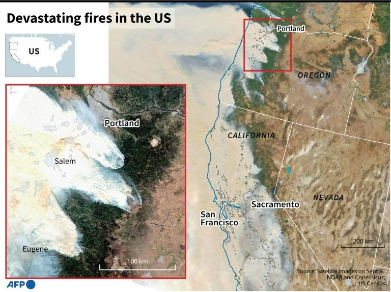 Satellite images of the US West Coast showing smoke from devastating wildfires