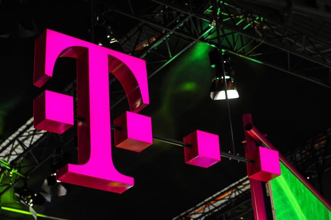 Deutsche Telekom logo exhibited during the Mobile World Congress, on February 28, 2019 in Barcelona, Spain.   (Photo by Joan Cros/NurPhoto via Getty Images)