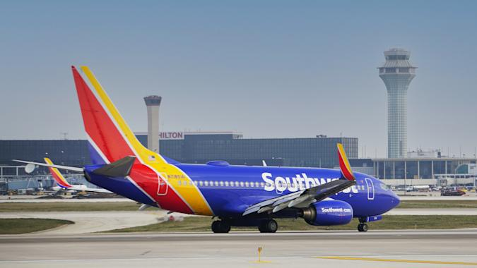 Bensenville, IL, USA. Southwest Airlines Boeing 737 taxies to the terminal after landing at Chicago O'Hare International Airport.