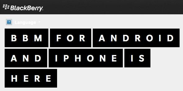 BlackBerry landing page prematurely declares 'BBM for Android and iPhone is here'