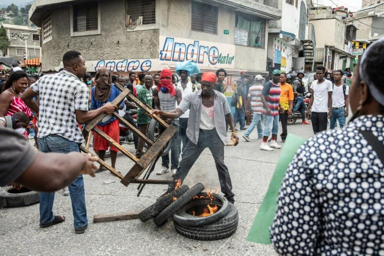 Demonstrations in the streets of Port-au-Prince in March 2019, demanding the removal of Haitian President Jovenel Moise