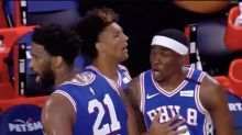 Sixers' Joel Embiid and Shake Milton appear to have confrontation in Sixers' 1st game at Disney World